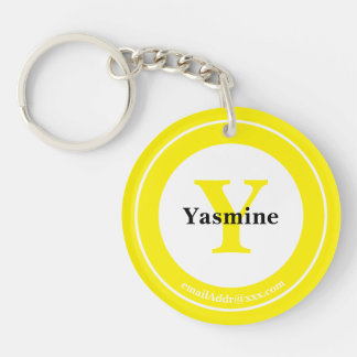 Minimalist - Bold Initials Name and ID Yellow Key Ring