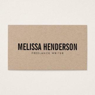 Minimalist Bold Typography Real Kraft Business Card