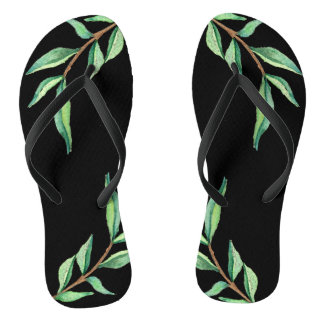 Minimalist Botanical Green Leaves on Black Thongs