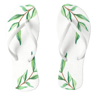 Minimalist Botanical Green Leaves on White Thongs