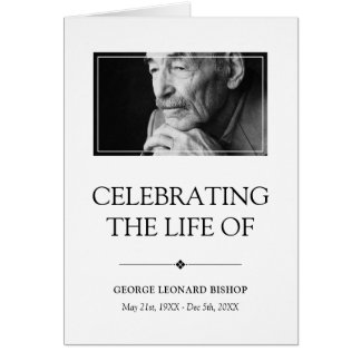 Minimalist Celebration of Life Funeral Program Card