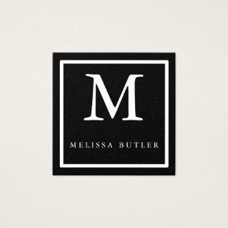 Minimalist Chic Black and White Modern Monogram Square Business Card