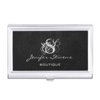 Minimalist chic elegant black leather monogram business card holder