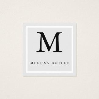 Minimalist Chic grey and White Modern Monogram Square Business Card