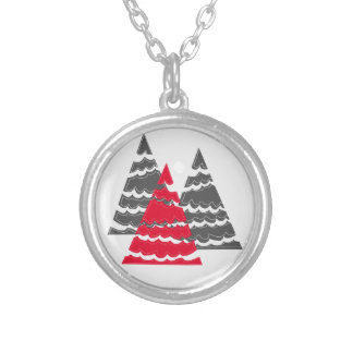 Minimalist Christmas Trees Silver Plated Necklace