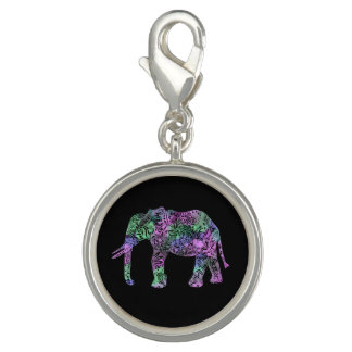 minimalist colorful tribal floral neon elephant