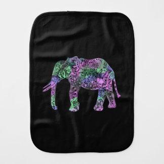minimalist colorful tribal floral neon elephant burp cloth