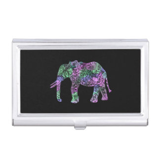 minimalist colorful tribal floral neon elephant business card holder