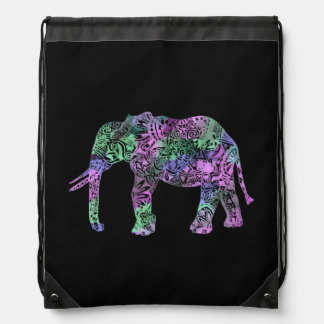 minimalist colorful tribal floral neon elephant drawstring bag