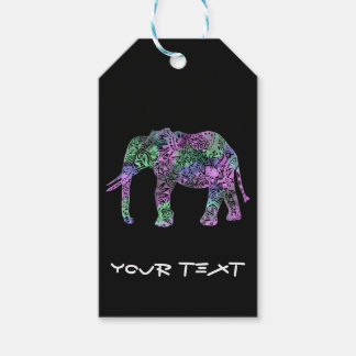 minimalist colorful tribal floral neon elephant gift tags