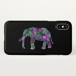 minimalist colorful tribal floral neon elephant iPhone x case