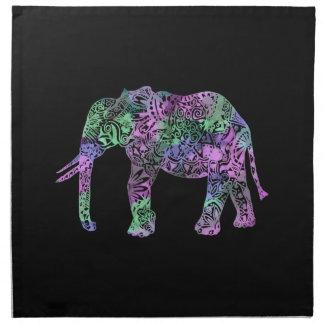 minimalist colorful tribal floral neon elephant napkin