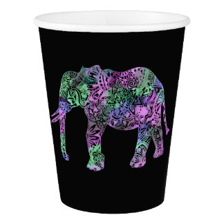 minimalist colorful tribal floral neon elephant paper cup