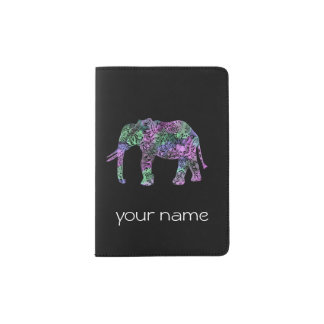 minimalist colorful tribal floral neon elephant passport holder