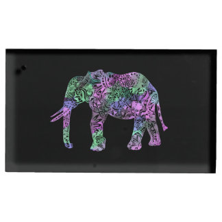 minimalist colorful tribal floral neon elephant table card holder