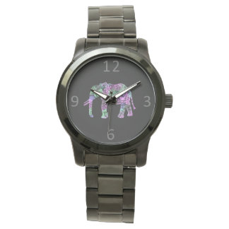 minimalist colorful tribal floral neon elephant watches