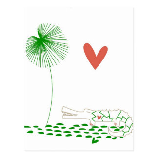 Minimalist Crocodile with heart and green flower. Postcard