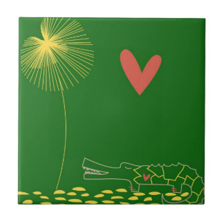 Minimalist Crocodile with heart and yellow flower. Small Square Tile