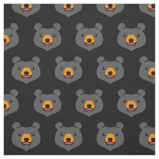 Minimalist Cute Black Bear Cartoon Fabric