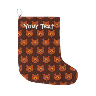 Minimalist Cute Grizzly / Brown Bear Cartoon Large Christmas Stocking