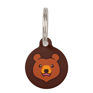 Minimalist Cute Grizzly / Brown Bear Cartoon Pet ID Tag
