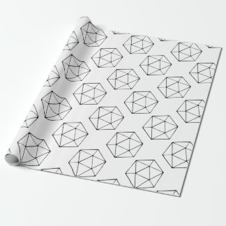 Minimalist D20 Design Tabletop Gamer Geek Wrapping Paper