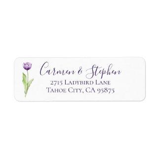 Minimalist Deep Purple Single Tulip Wedding Return Address Label