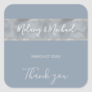 Minimalist dusty blue watercolor stripe Thank you Square Sticker