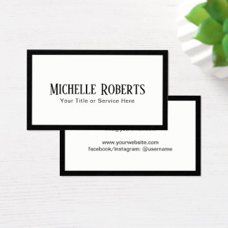 Minimalist Elegant Black Border Professional Business Card