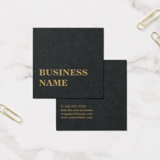 Minimalist Elegant Black Faux Gold Bold Consultant Square Business Card