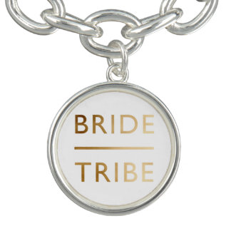 minimalist elegant bride tribe faux gold text