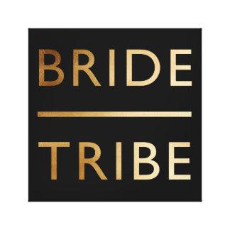 minimalist elegant bride tribe faux gold text canvas print