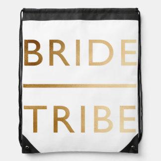 minimalist elegant bride tribe faux gold text drawstring bag