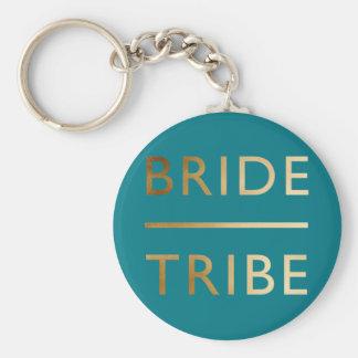 minimalist elegant bride tribe faux gold text key ring
