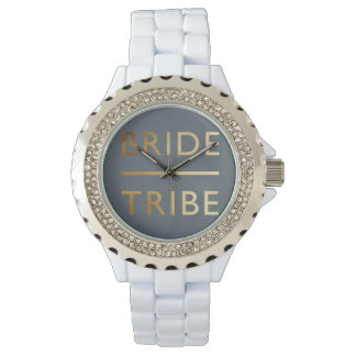 minimalist elegant bride tribe faux gold text watch