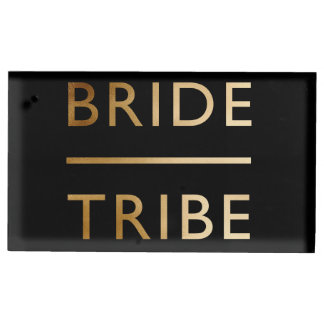 minimalist elegant bride tribe gold foil text table card holders