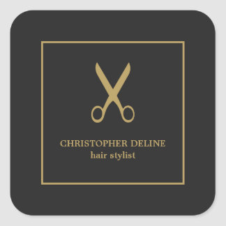 Minimalist Elegant Dark Faux Gold Scissor Square Sticker