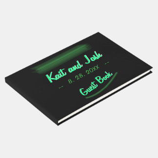 Minimalist Elegant Emerald Green Mint Wedding Guest Book