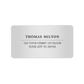 Minimalist Elegant Faux Silver Black Label Address Label