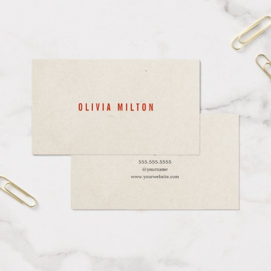 Minimalist Elegant Paper Texture Red Consultant Business Card