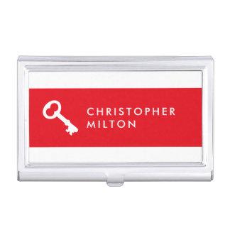 Minimalist Elegant Red White Key Icon Realtor Business Card Holder