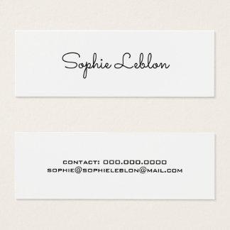 minimalist elegant simple plain white mini business card