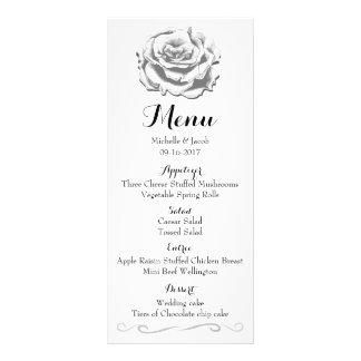 Minimalist Elegant Vintage Rose Wedding Menu