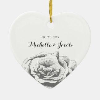 Minimalist Elegant Vintage Rose Wedding Ornament