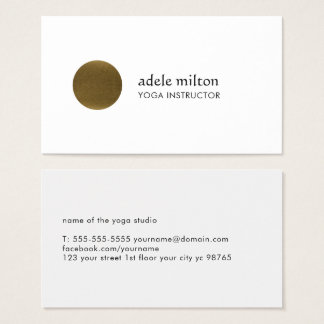 Minimalist Elegant White Faux Copper Circle Yoga Business Card