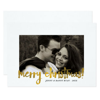 Minimalist Faux Gold Merry Christmas Photo Card
