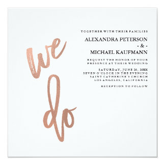 Minimalist Faux Rose Gold Typography Wedding Card