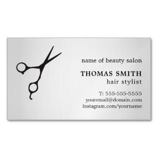 Minimalist Faux Silver Black Scissor Hair Stylist Magnetic Business Cards