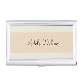 Minimalist Feminine Pale Pink Stripe Business Card Holder