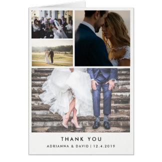 Minimalist Four Wedding Photos Thank You Card